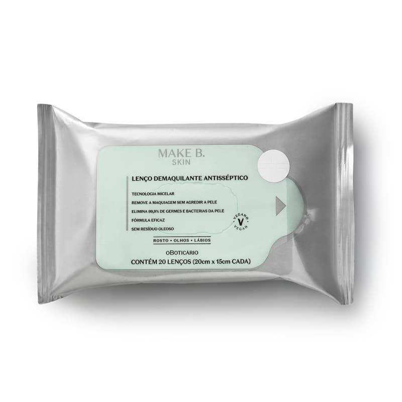 Lenço Demaquilante Antisséptico Make B. Skin 20 unidades