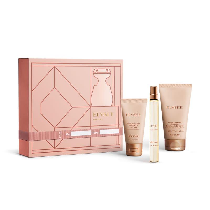 Kit Presente Elysée: Eau de Parfum 10ml + Creme Acetinado Corporal 75g + Creme Acetinado para Mãos 30g