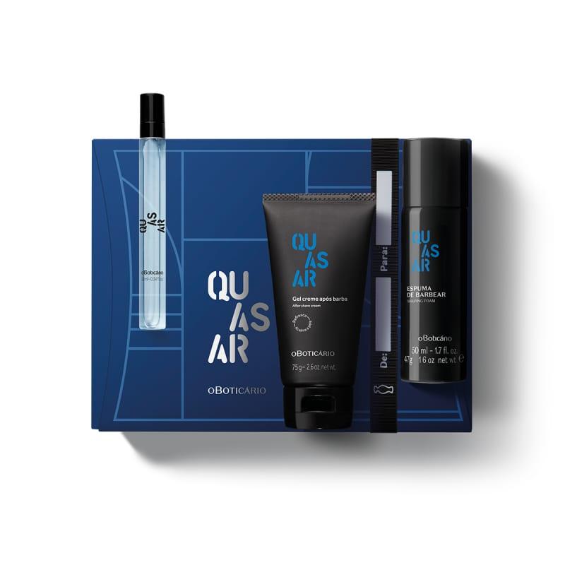 Kit Presente Quasar: Desodorante Colônia 10ml + Espuma de Barbear 47ml + Gel Pós Barba 75g