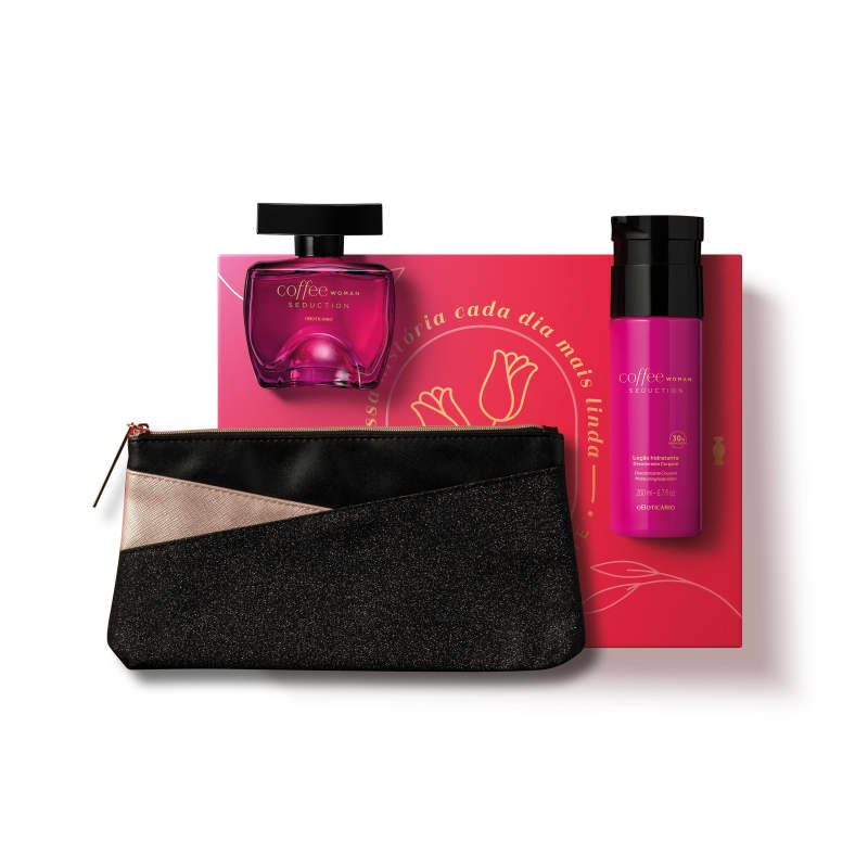 Kit Presente Dia das Mães Coffee Woman Seduction: Desodorante Colônia 100ml + Loção Hidratante Desodorante 200ml + Nécessaire
