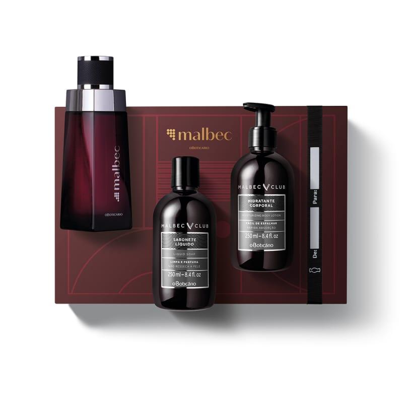 Kit Presente Malbec: Desodorante Colônia 100ml + Loção Corporal 250ml + Sabonete Líquido Corporal 250ml