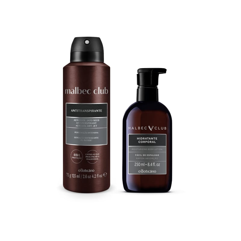 Combo Malbec Club: Desodorante Antitranspirante 75g + Loção Desodorante Hidratante 250ml