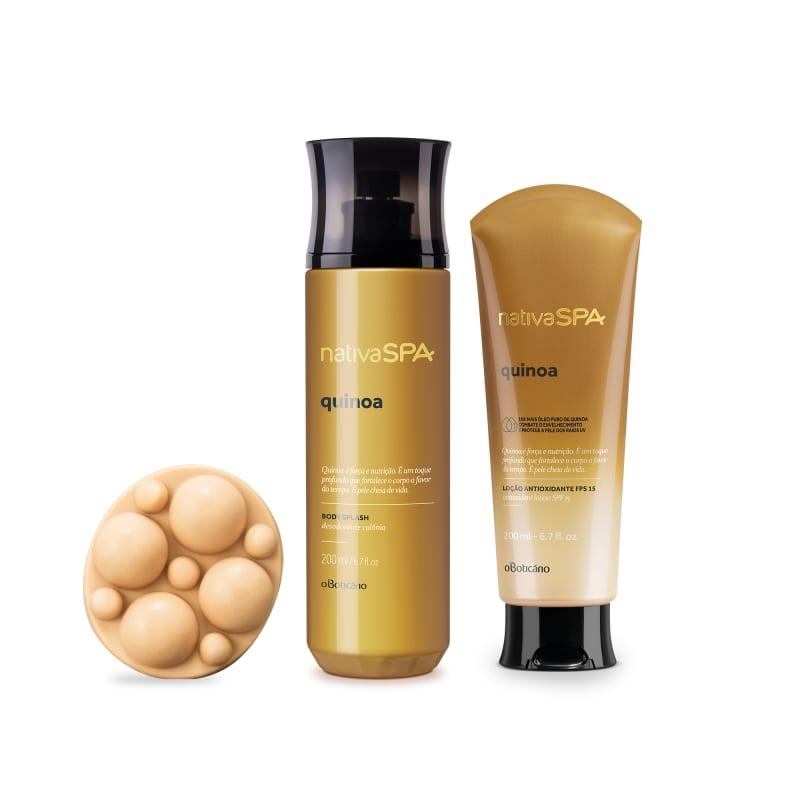 Combo Presente Nativa Spa Quinoa: Body Splash 200ml + Loção Antioxidante 200ml + Sabonete em Barra 90g