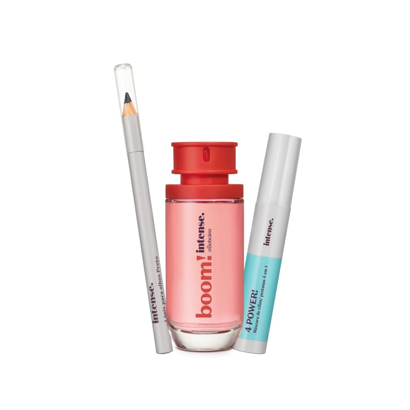 Combo Presente Intense: Boom! Desodorante Colônia + Máscara de Cílios Preta 4 Power + Lápis Preto para Olhos