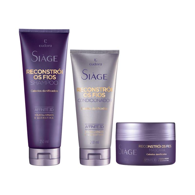 Kit Siàge Reconstrói os Fios Shampoo + Condicionador + Máscara