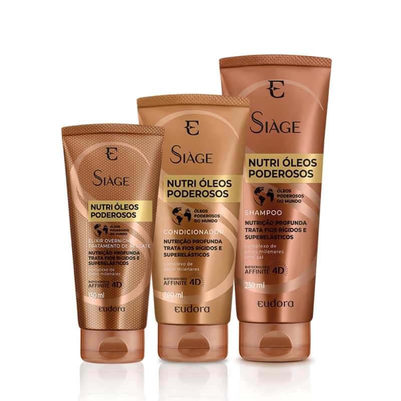 Kit Siàge Nutri Óleos Poderosos Shampoo + Condicionador + Tratamento Overnight
