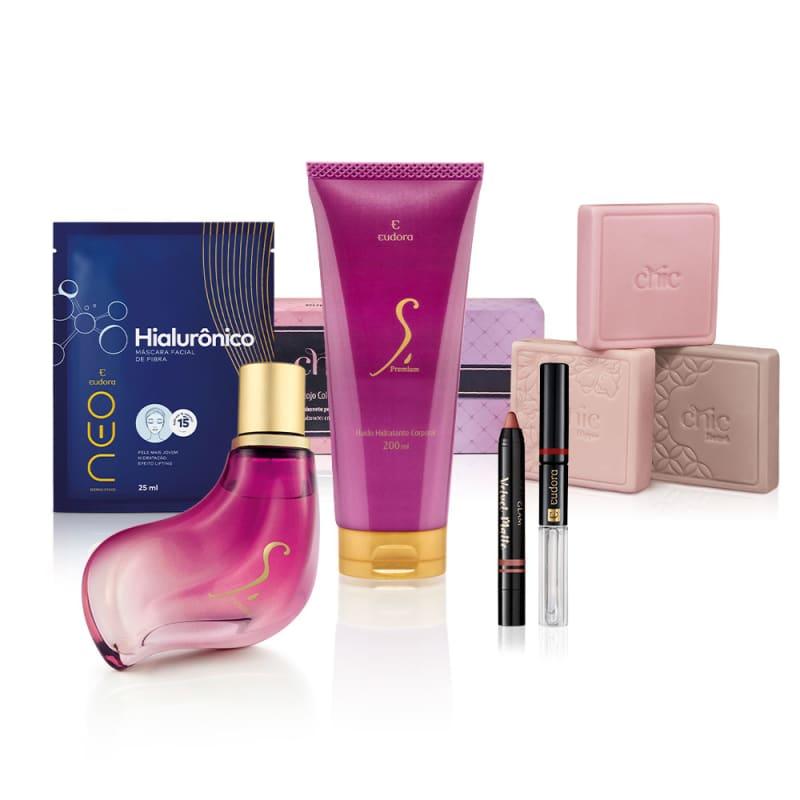 Kit Colônia S. Premium + Hidratante + Máscara Facial + 3 Sabonetes + 2 Batons