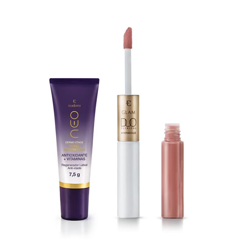 Kit Eudora Glam Duo Clinical Rosa + Regenerador Labial (2 Produtos)