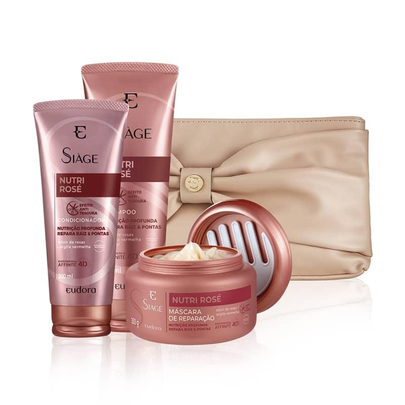 Kit Siàge Nutri Rosé Shampoo + Condicionador + Máscara + Nécessaire