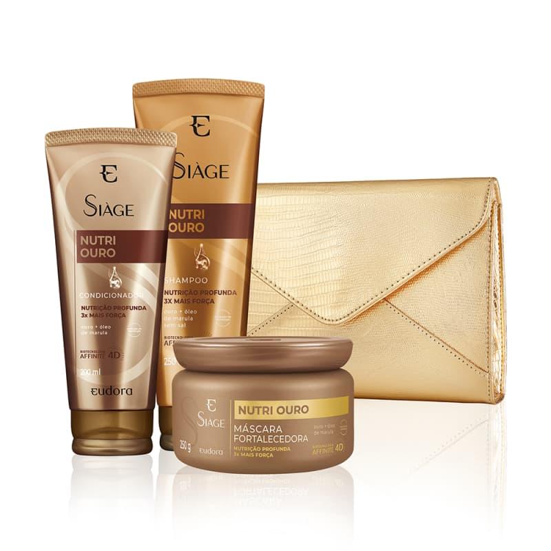 Kit Siàge Nutri Ouro Shampoo + Condicionador + Máscara + Clutch Luxo
