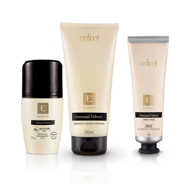 Kit Sensual Velvet Hidratante Desodorante Mãos + Desodorante + Sabonete