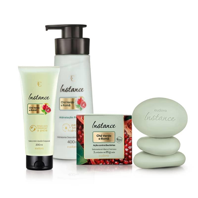 Kit Instance Chá Verde e Romã Sabonete em Barra + Hidratante Desodorante + Sabonete Líquido