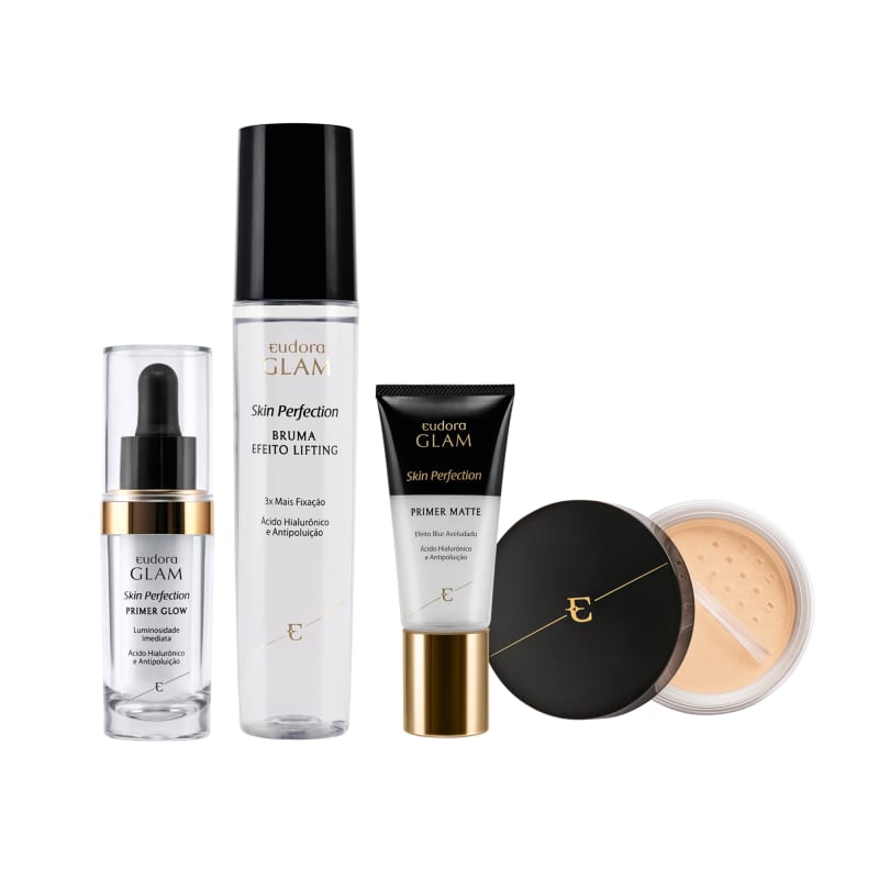 Kit Skin Perfection Pele Branca Pó Solto + Primer Matte + Primer Glow + Bruma Fixadora