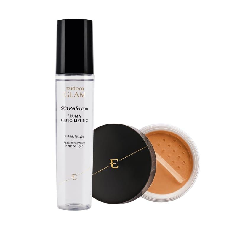 Kit Skin Perfection Pó Solto Médio Escuro + Bruma Fixadora