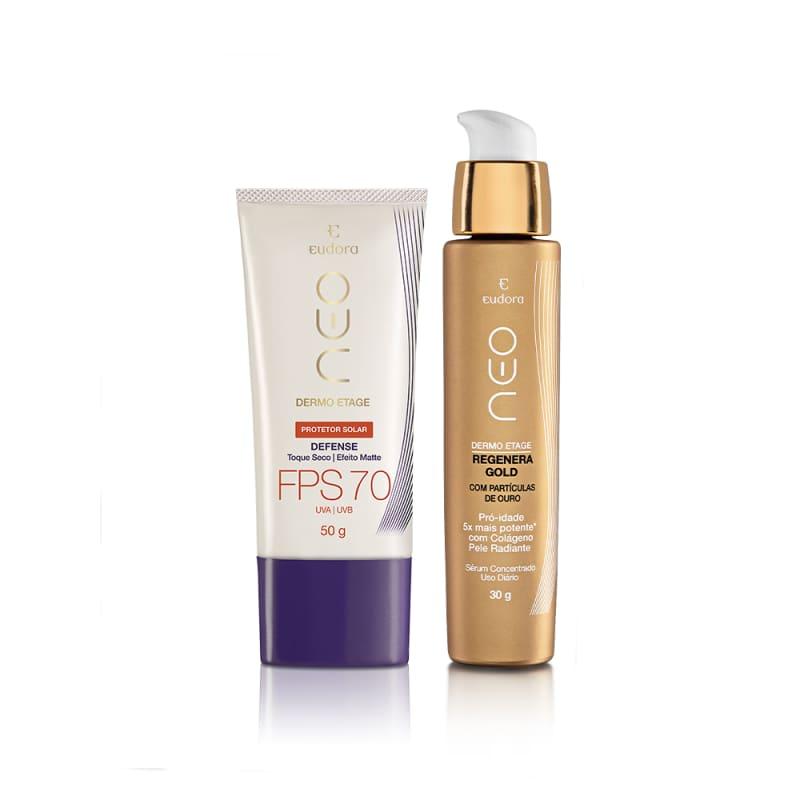 Kit Neo Dermo Etage Serum Facil Gold Total Regenerate + Protetor Solar Facial Defense FPS 70