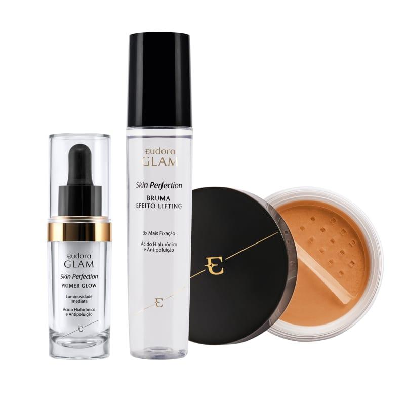 Kit Skin Perfection Pele Morena Pó Solto + Primer Glow + Bruma Fixadora