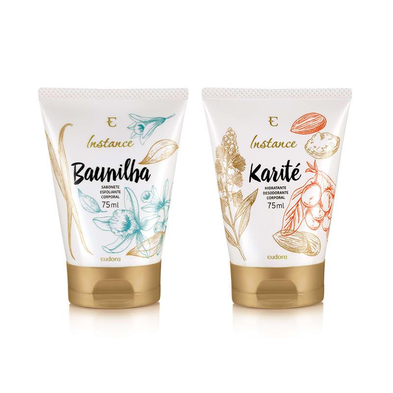 Kit Instance Sabonete Esfoliante Baunilha + Hidratante Desodorante Karité