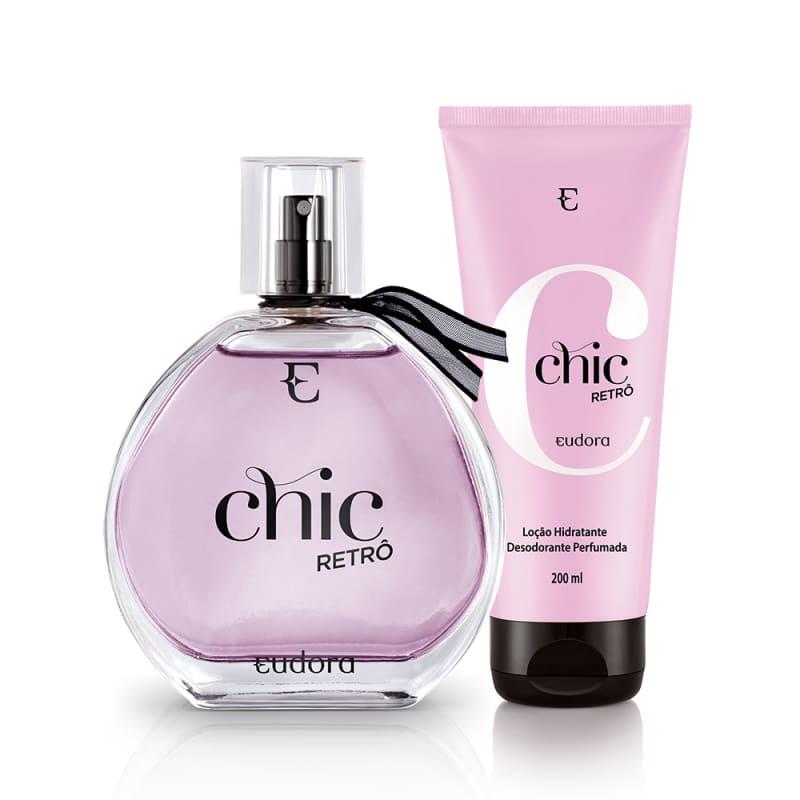 Conjunto Chic Retrô Eudora Feminino - Colônia Desodorante 95ml + Loção Hidratante 200ml