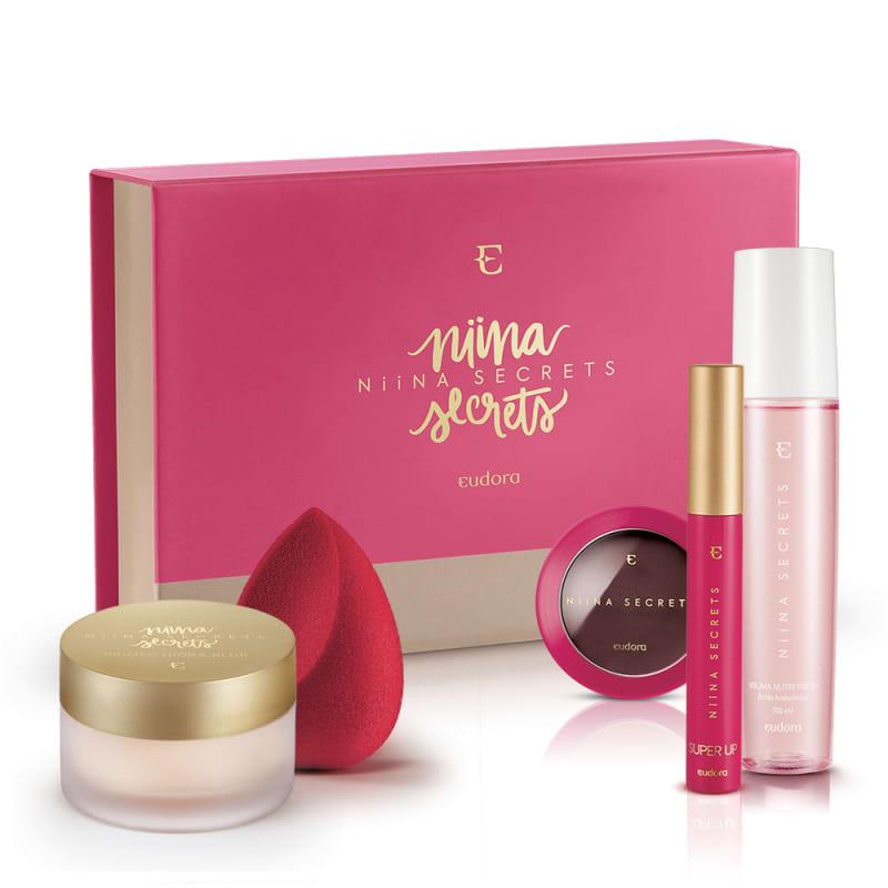 Kit Box Niina Secrets Blush Amora + Máscara + Bruma +  Primer + Esponja + BOX EXCLUSIVA*