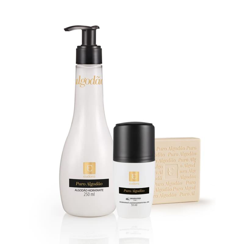 Kit Puro Algodão Hidratante Desodorante + Sabonete em Barra + Desodorante Roll On