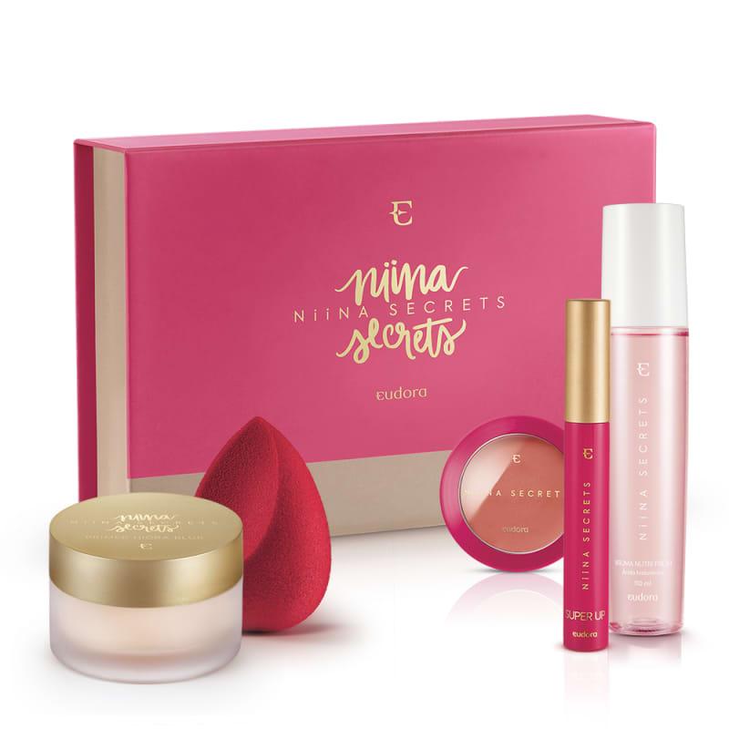 Kit Box Niina Secrets Blush Pêssego + Máscara + Bruma +  Primer + Esponja + BOX EXCLUSIVA*