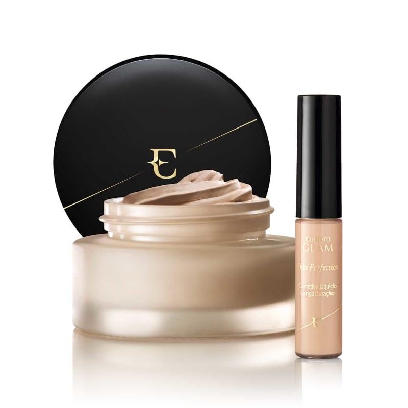 Kit Maquiagem Glam Corretivo Skin Perfection + Base Velvet 3 em 1