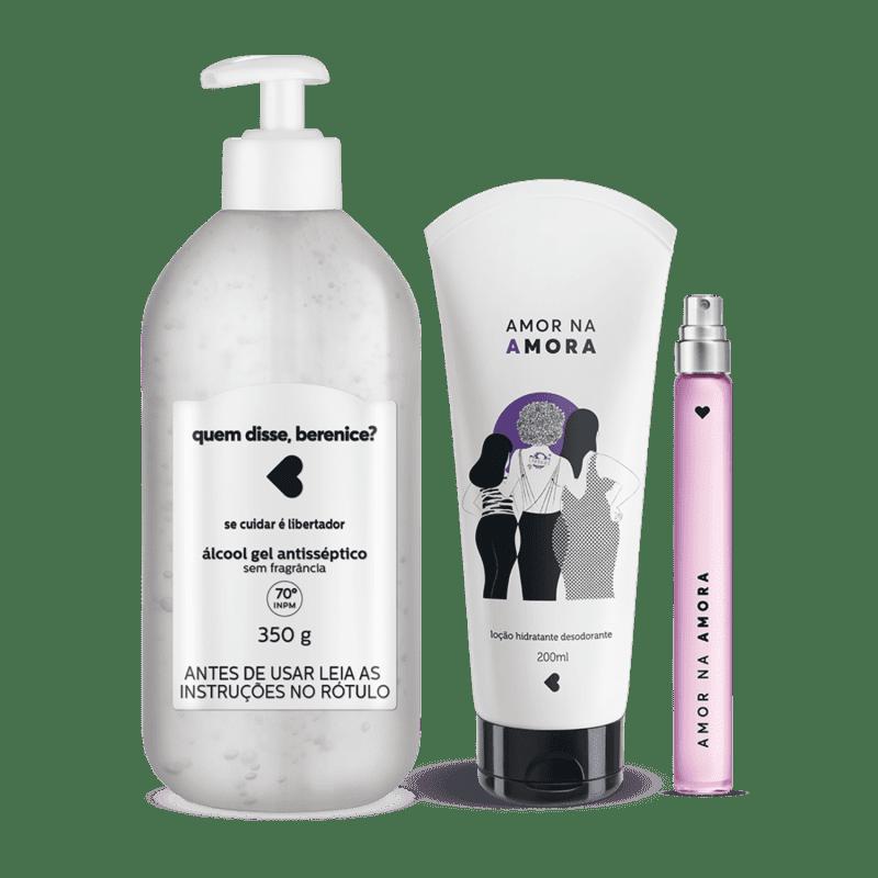 Kit Cuidados: Álcool Gel + Loção Hidratante Desodorante Corporal + Desodorante Colônia Amor na Amora 10ml