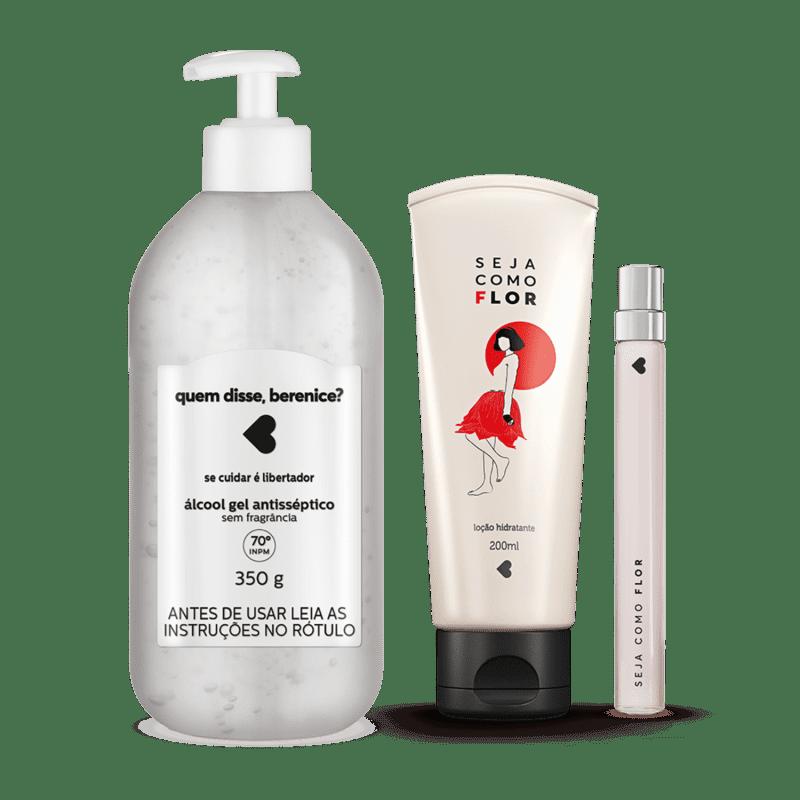 Kit Cuidados: Álcool Gel + Loção Hidratante Desodorante Corporal + Desodorante Colônia Seja como Flor 10ml
