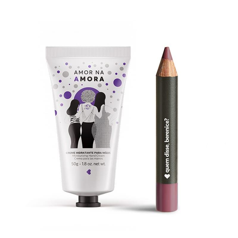 Kit Creme Hidratante Mãos Amor na Amora + Lápis Batom Mate Rosaliz