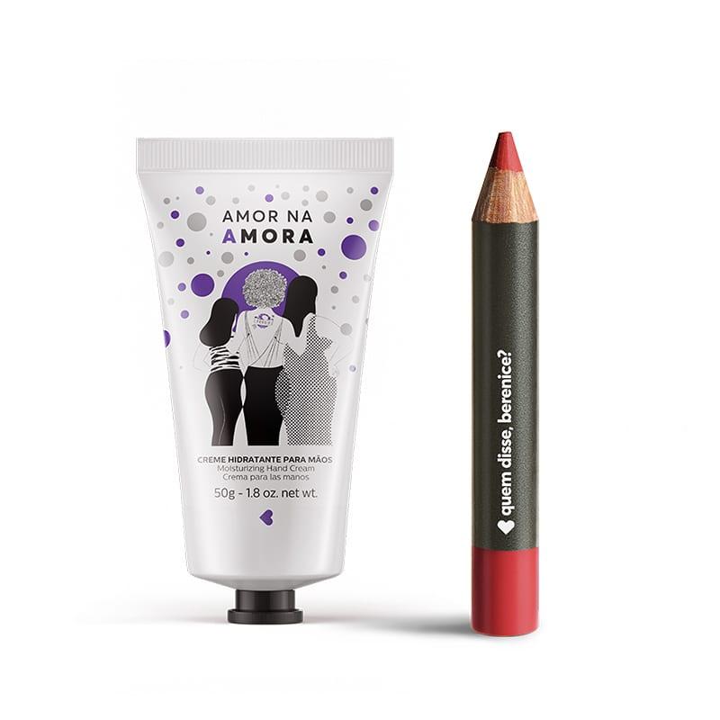 Kit Creme Hidratante Mãos Amor na Amora + Lápis Batom Mate Vermeliz