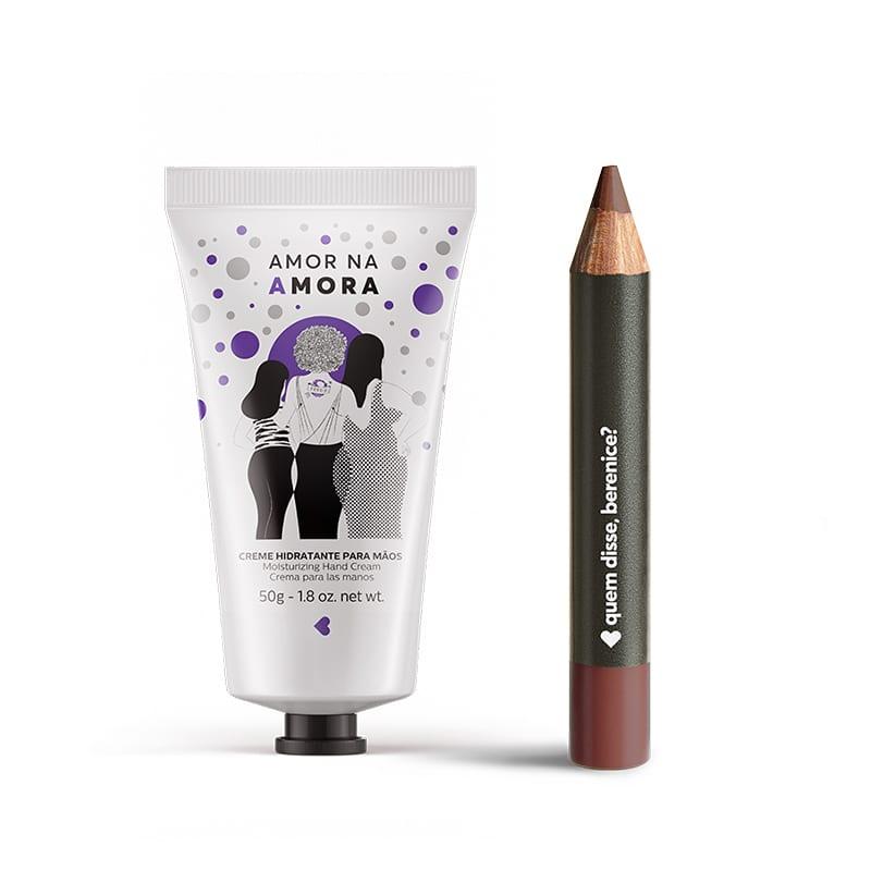 Kit Creme Hidratante Mãos Amor na Amora + Lápis Batom Mate Marronliz