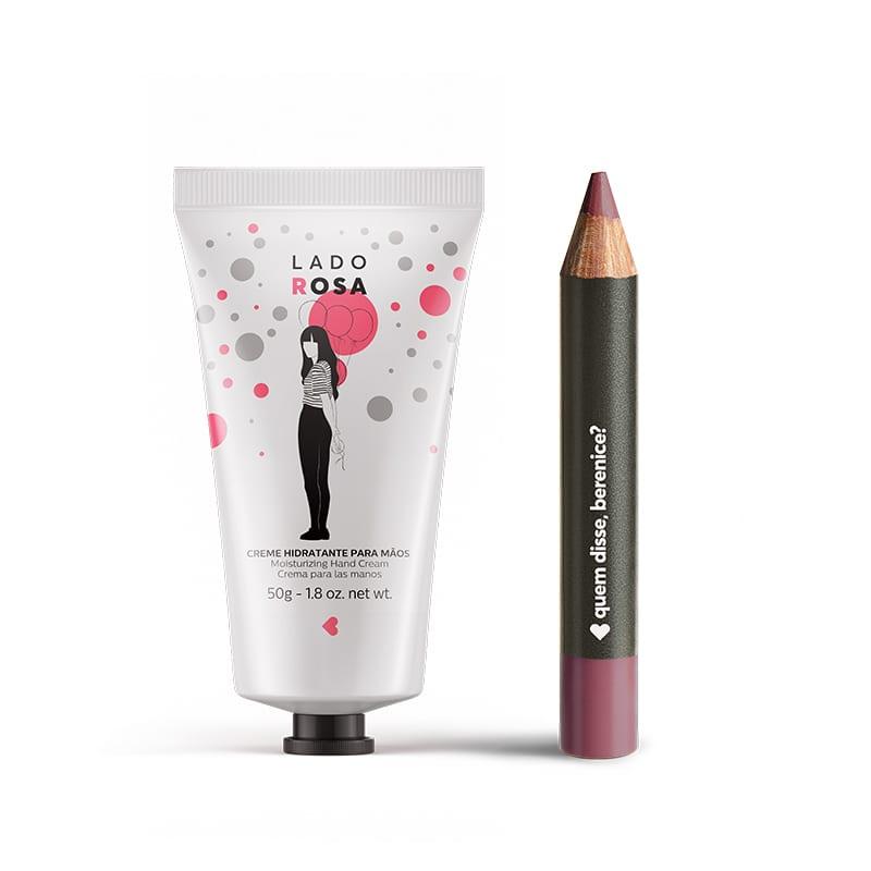 Kit Creme Hidratante Mãos Lado Rosa + Lápis Batom Mate Rosaliz