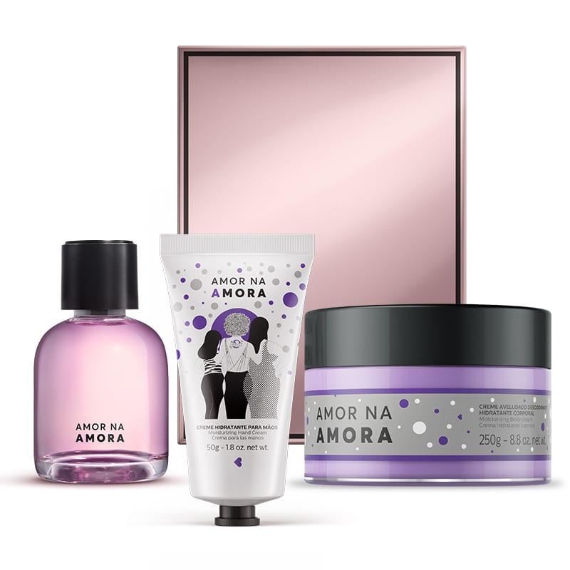 Kit Amor na Amora - Creme Hidratante Mãos + Creme Aveludado Desodorante Hidratante Corporal + Desodorante Colônia 75ml + Caixa Cubo G