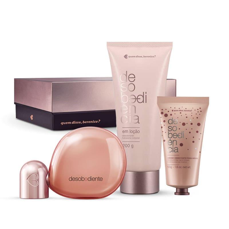 Kit Desobediente: Eau de Parfum 100ml + Creme hidratante Mãos + Loção desodorante hidratante corporal + Caixa Cubo G