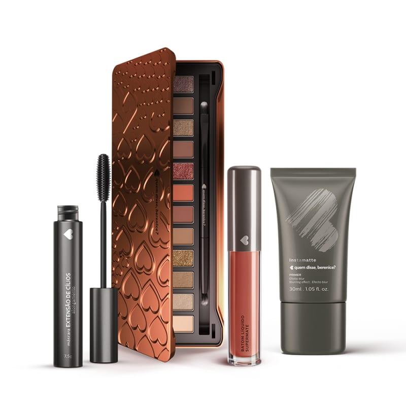 Kit Paleta de Sombras Adoro Bronzes + Primer Instamatte + Máscara Extensão de Cílios +  Batom Líquido Supermate Marronli