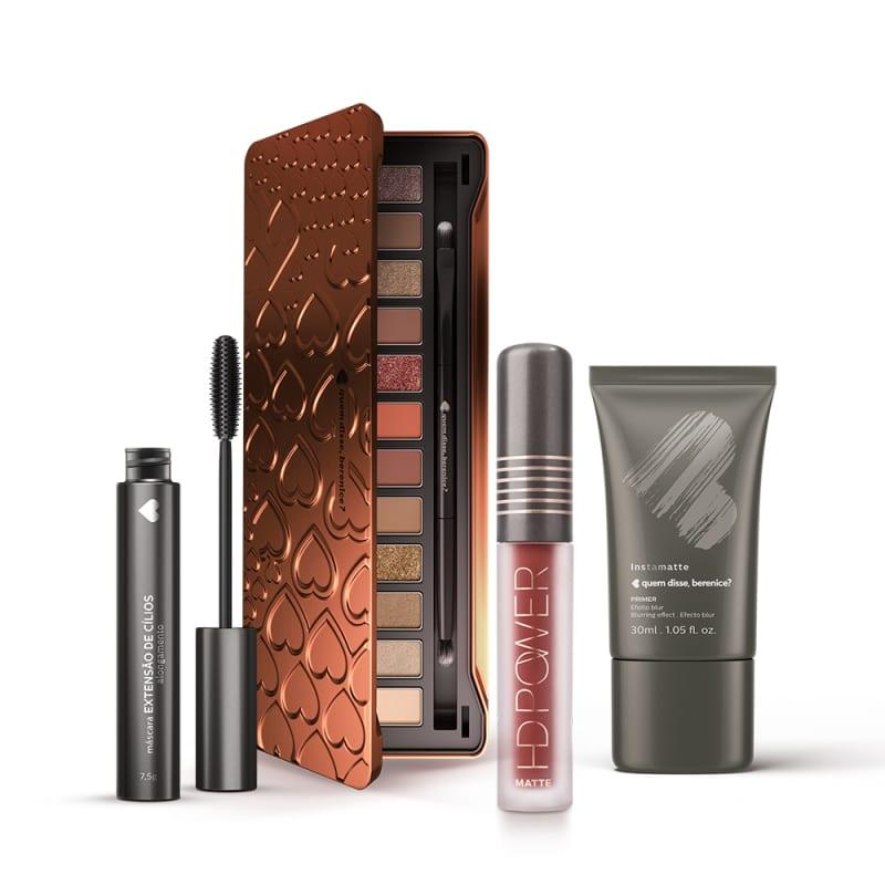 Kit Paleta de Sombras Adoro Bronzes + Primer Instamatte + Máscara Extensão de Cílios + Batom HD Power Vermelhohd