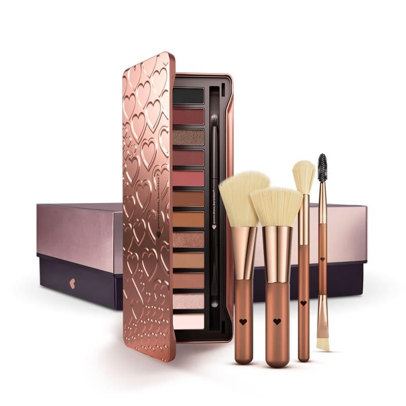 Kit Paleta de Sombras Adoro Rosês + Conjunto de Pincéis Metal Bronze + Caixa Cubo G