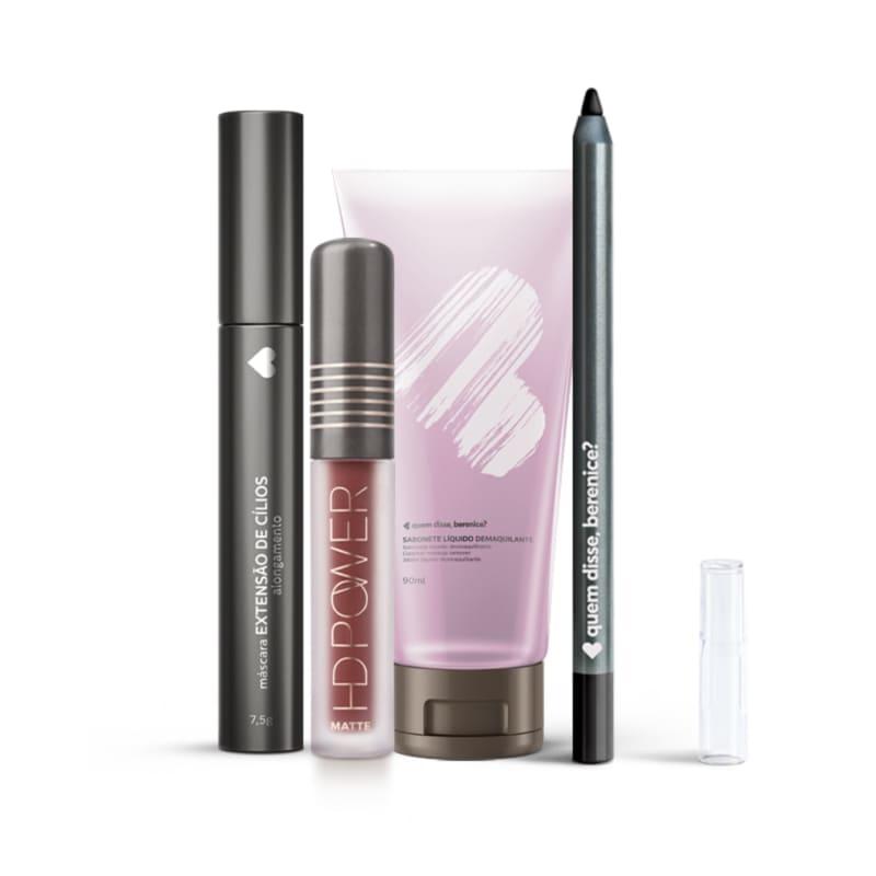Kit Máscara Extensão de Cílios + Lápis Olhos Pretuco + Batom HD Power Matte Capuccinohd + Sabonete Demaquilante