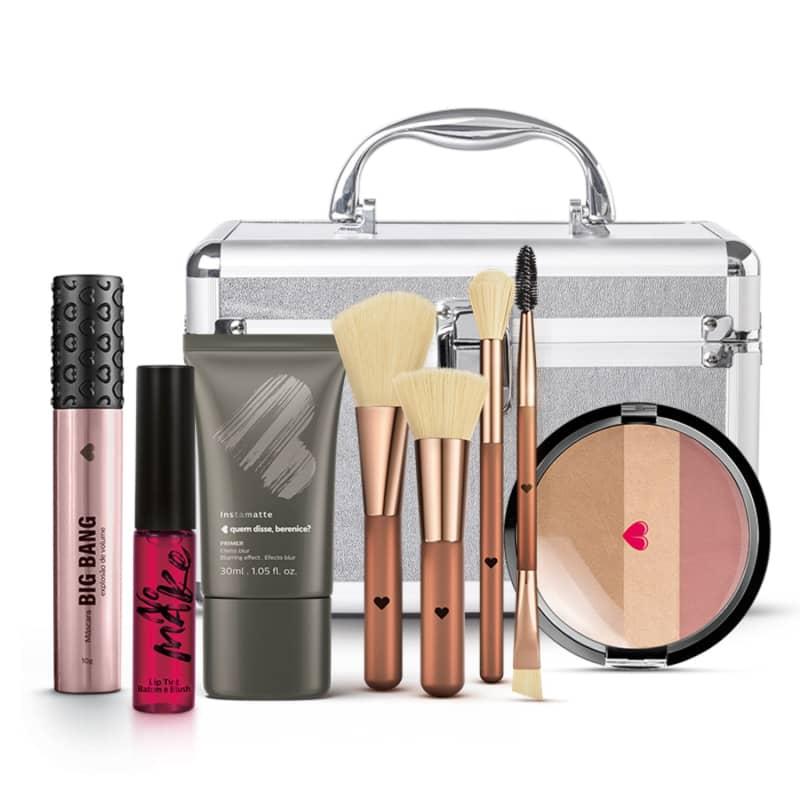 Kit Maleta de Maquiagem + Conjunto de Pincéis + Primer + Máscara Big Bang + Lip Tint + Pó Multiefeitos