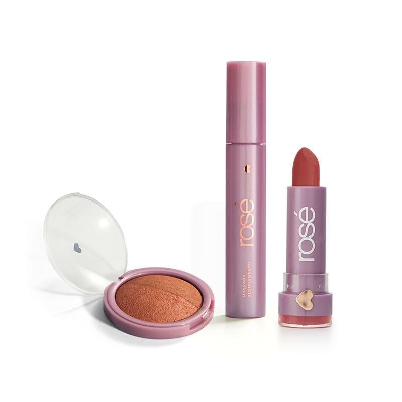 Kit Haja Amor Bronze:  Batom + Máscara + Blush Bronze