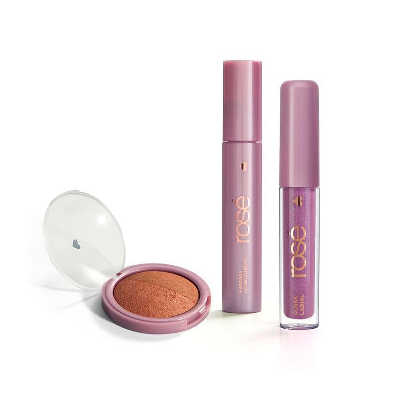 Kit Glossy Brilho Próprio Bronze: Gloss + Máscara + Blush Bronze