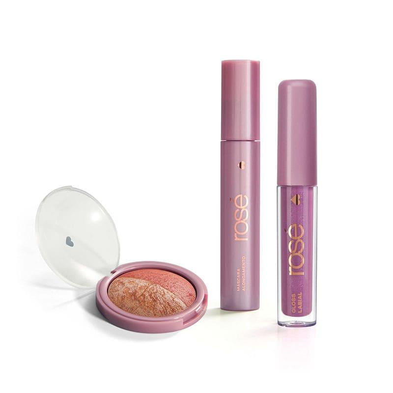 Kit Glossy Brilho Próprio Rosé: Gloss + Máscara + Blush Rose