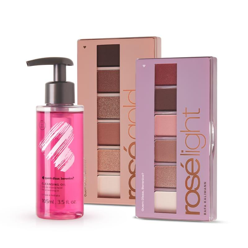 Kit Cleansing Oil + Paleta de Sombras Rosé Light + Rosé Gold
