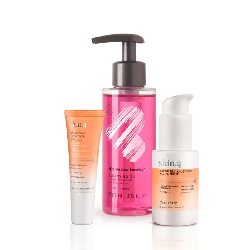 Kit Cleasing Oil + Skin.q Creme Revitalizador Facial Noite + Skin.q Balm Labial Hidratação e Volume