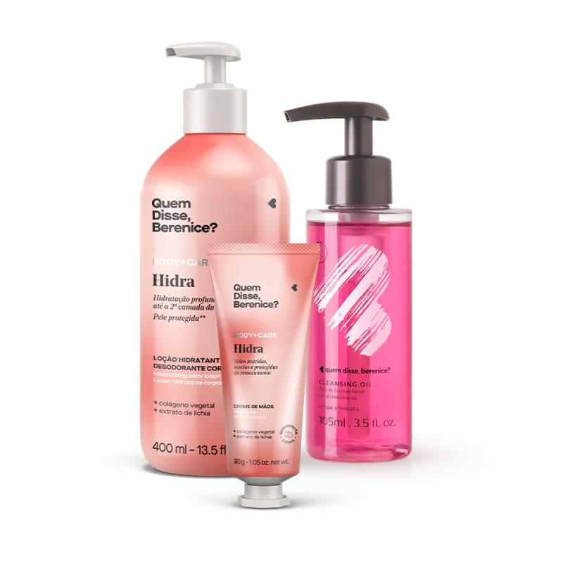 Kit Cleasing Oil +  Hidra Creme Hidratante Para as Mãos + Loção Hidratante Desodorante Corporal