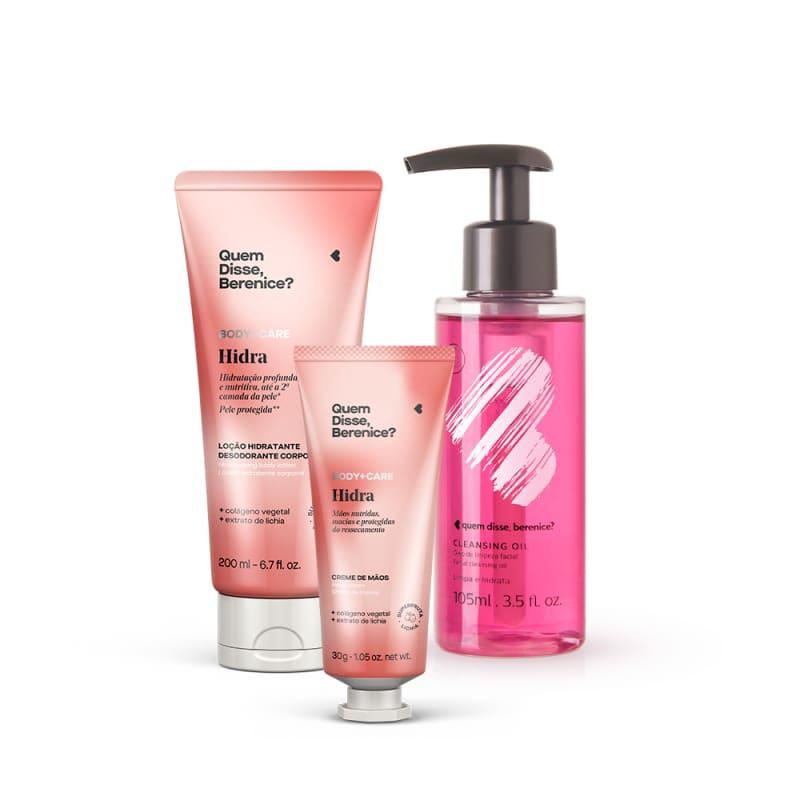 Kit Cleasing Oil +  Hidra Sabonete Líquido Mãos e Corpo + Loção Hidratante Desodorante Corporal