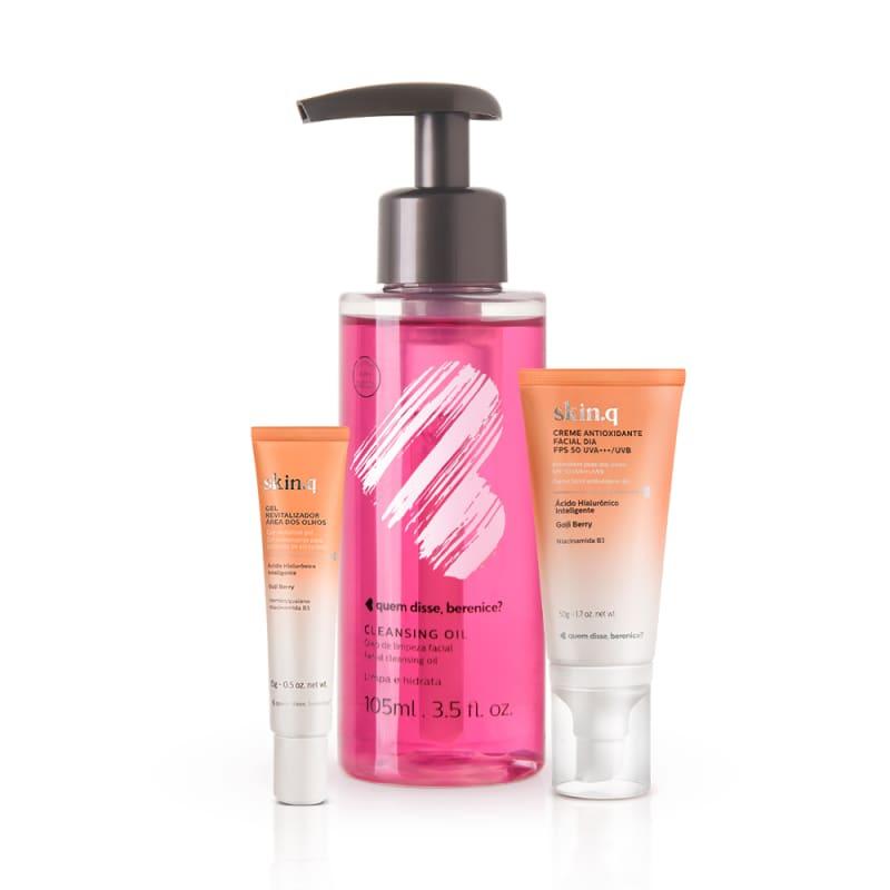 Kit Cleasing Oil + Skin.q Gel Revitalizador para Área dos Olhos + Creme Antioxidante Facial Dia FPS 50
