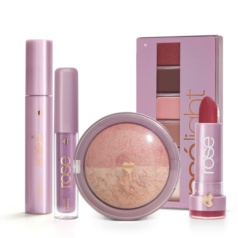 Kit Rosé Hour Light: Paleta Rosé Light + Máscara + Gloss + Batom + Blush Rosé