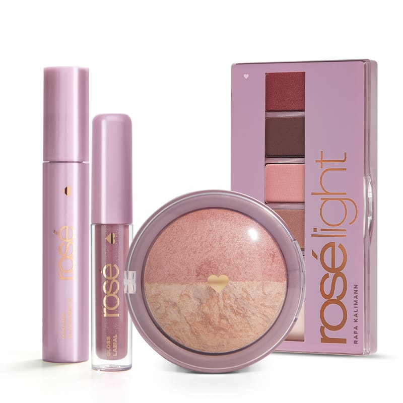 Kit Glossy Iluminado Rosé Light: Paleta Rosé Light + Gloss + Máscara + Blush Rose