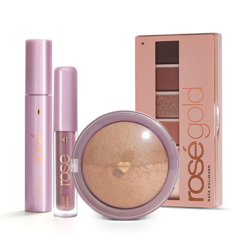 Kit Glossy Iluminado Rosé Gold: Paleta Rosé Gold +Gloss + Máscara + Blush Bronze